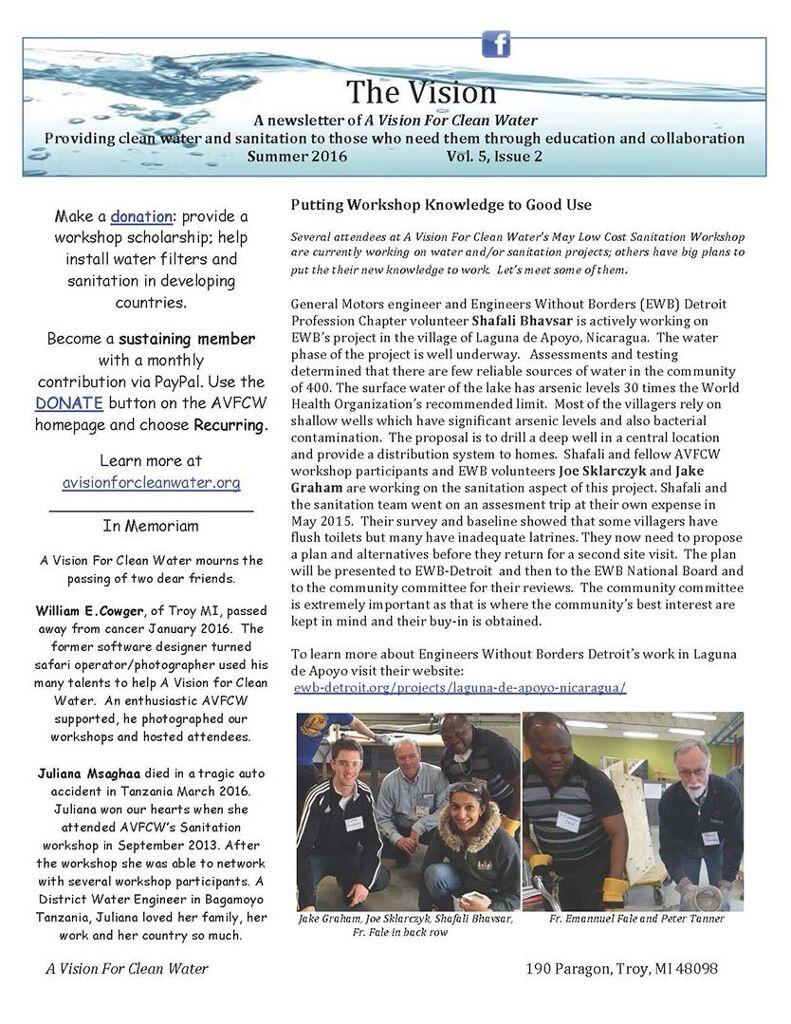 AVFCW Newsletter - Summer 2016