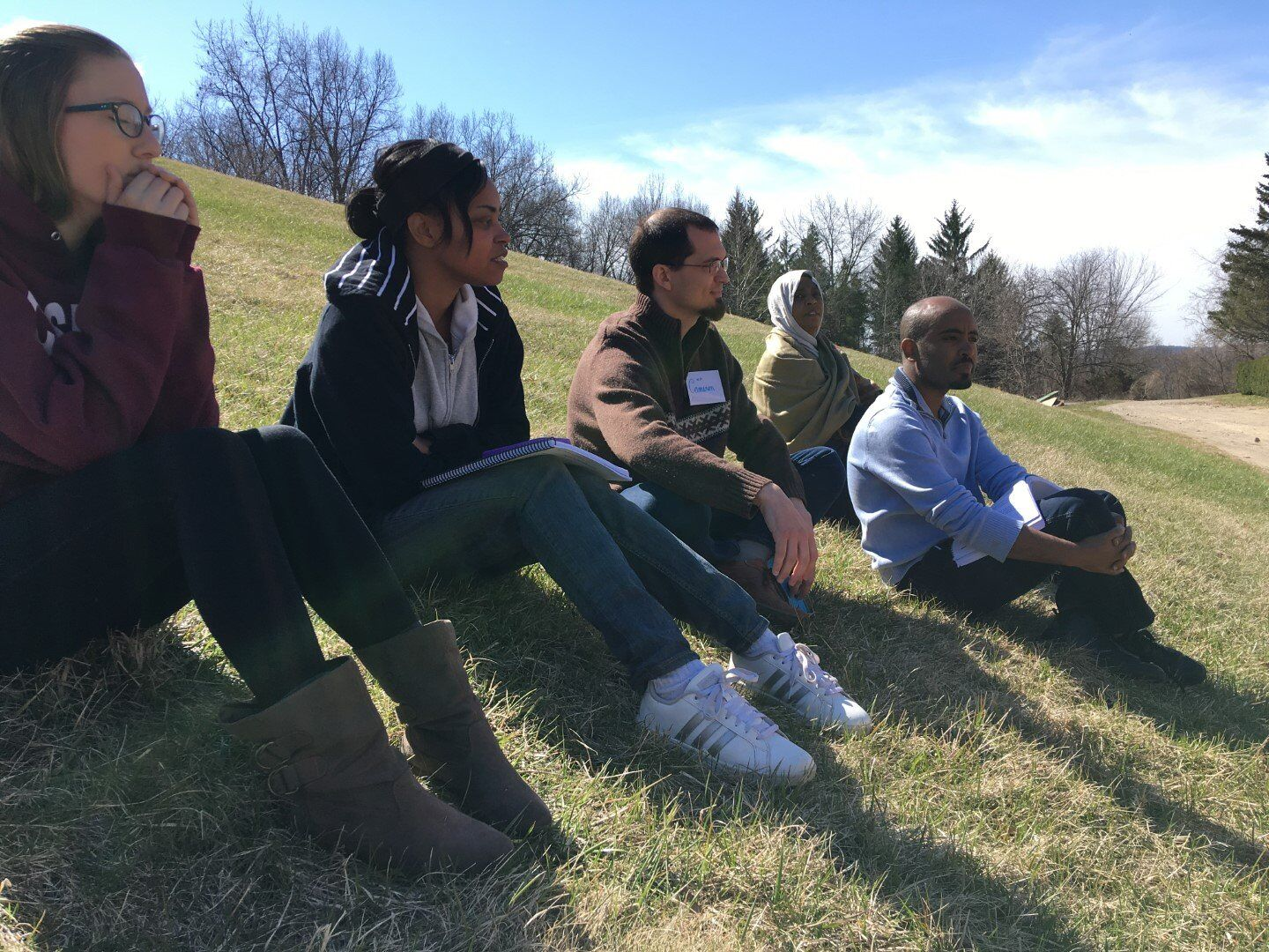 The weather was great on the last day, so we moved the classroom outside.